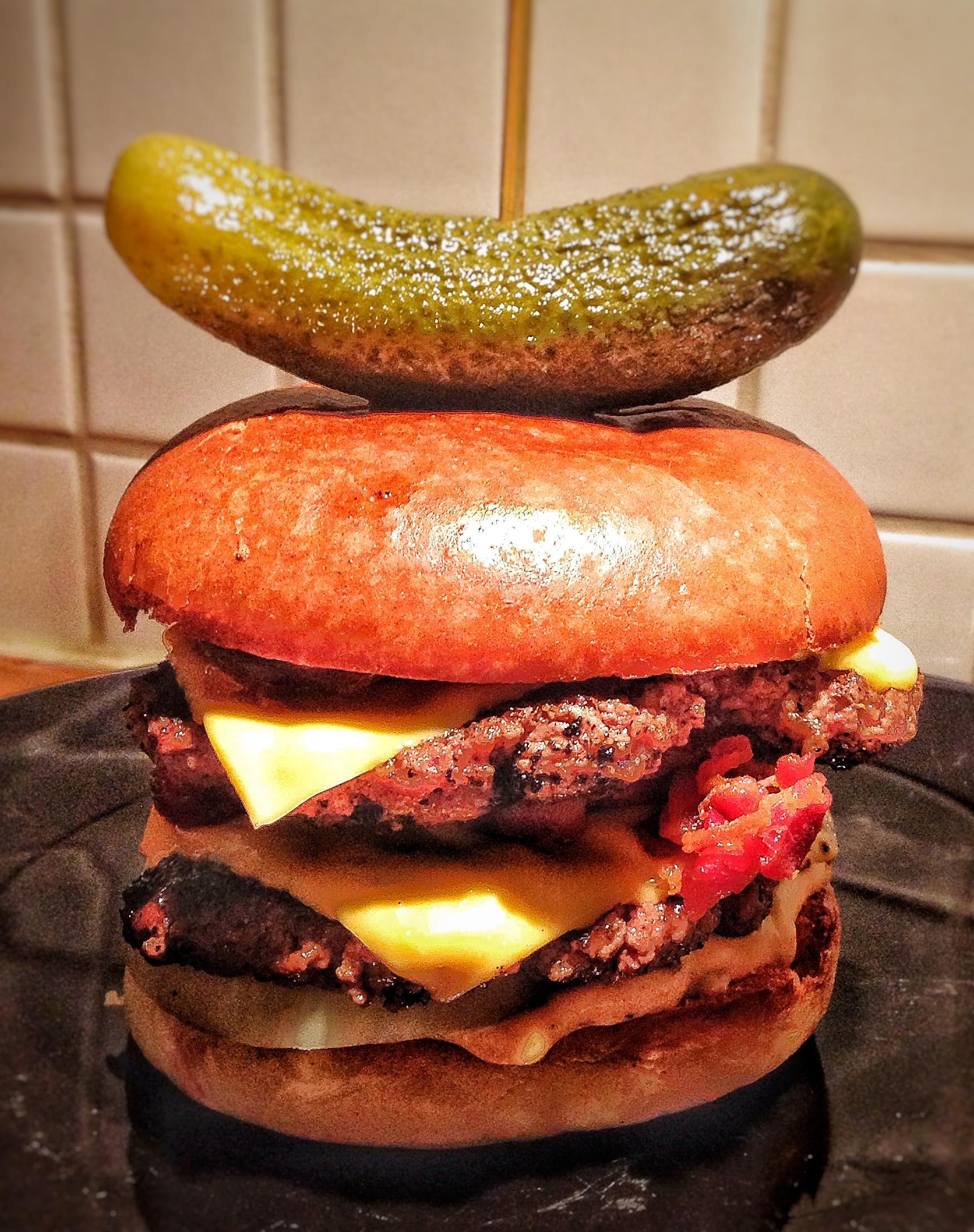 Smashed burger med dubbellök